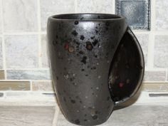 Coffee Mug. Ceramic hand warmer mug, Black with speckles. Food and dishwasher…