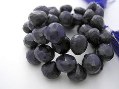 Faceted Semi Precious Gemstone Briolette. Blue by LuxBeads on Etsy