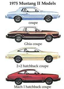1975 Mustang II Models ~ coupe, Ghia coupe, 2+2 hatchback coupe, Mach 1 hatchback coupe