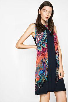 Desigual tmavě modré šaty Tabi s barevnými motivy - Dámské Šaty   Different. 367262e16a