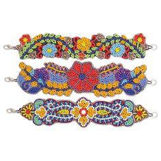 Stitched Bead Flower Bracelet
