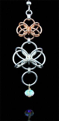 Flutterby Earrings.  Butterfly chainmaille