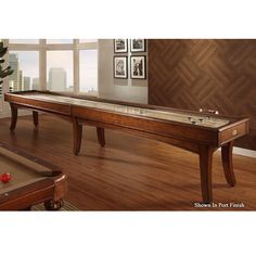 """Legacy Billiards Signature Shuffleboard 12' or 16' Features elegant curved post legs, arched cabinet and arched blinds which lends to the modern contemporary style.  Playfield:  The 2.5"""" thick Signature Playfield is made from Plantation North American Yellow Poplar with a 1/4"""" polymer resi"""