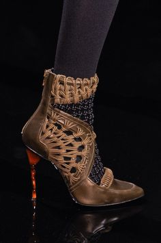 Balmain Brown Knotted Booties Fall 2014 #Shoes #Heels #Boots