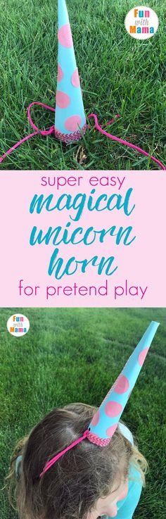 How To Make A Super Easy Unicorn Horn For Pretend Play. Unicorns are so magical and fun. Help your child pretend to be a unicorn with this simple diy horn. Fantastic idea for a unicorn party as well!  via @funwithmama