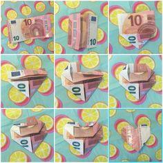hartje vouwen van geld, diy geld in een hartje vouwen, origami met centjes, geld op kinderfeestje Origami Fashion, Last Minute Gifts, Easy Peasy, Funny Gifts, Creative Inspiration, Birthday Gifts, Wraps, Gift Wrapping, Diys