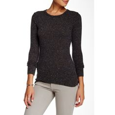 Autumn Cashmere Raw Edge Cashmere Sweater ($130) ❤ liked on Polyvore featuring tops, sweaters, brimstone, crewneck sweater, crew-neck sweaters, cashmere crewneck sweater, long sleeve tops and long sleeve sweaters