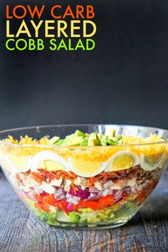 This low carb layered cobb salad is reminiscent of a seven layered salad but with all the fixing of a regular cobbb salad. This low carb layered cobb salad is reminiscent of a seven layered salad but with all the fixing of a regular cobbb salad. Low Carb Recipes, Cooking Recipes, Healthy Recipes, Salads For Picnics, Cobb Salad, Seven Layer Salad, Soup Appetizers, Best Salad Recipes, Taco