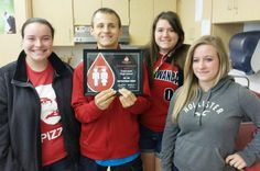 Congratulations to Talawanda High School! CBC's Bill Roy presented the CBC Red Cord Honor School award for 2014-2015 to Talawanda at today's spring blood drive to thank donors and student helpers. Sharon Gregory is the faculty coordinator.