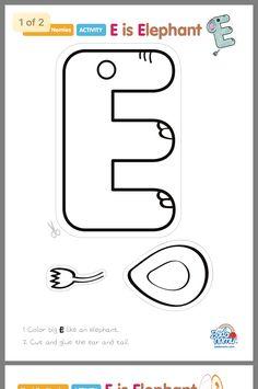 Letter E Craft, Preschool Letter Crafts, Alphabet Letter Crafts, Alphabet Book, Letter Tracing, Spanish Alphabet, Letter E Activities, Preschool Learning Activities, Preschool Worksheets