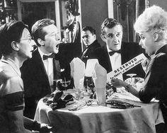 Charles Hawtrey, Kenneth Williams, Victor Maddern, Bernard Cribbins and Barbara Windsor in Carry On Spying. 1964