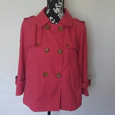 """Ann Taylor LOFT 3/4 sleeve jacket Ann Taylor LOFT 3/4 sleeve collared jacket Trench Style (Short) Pink Three rows of double buttons Two Side pockets Buckle detail on sleeves Size small 99% cotton, 1% spandex Gently used EUC Measurements laying flat: Shoulder to shoulder: 17.5"""" Underarm to underarm: 19"""" Length: 23"""" LOFT Jackets & Coats"""