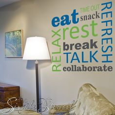 A wonderful way to dress up an employee or teacher's lounge area. Select colors to match your School or Business logo! Teacher Lounge, Staff Lounge, School Staff, School Office, School Logo, Teacher Morale, Staff Morale, School Murals, School Hallways
