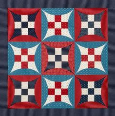 Join large Glorified Nine-Patch blocks into a patriotic wall hanging.