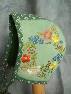 upcycled baby hat embroidered vintage