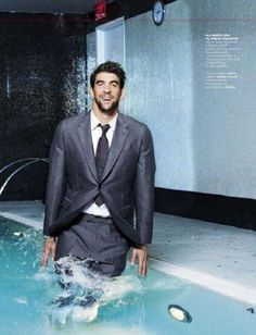 I enjoy jumping into pools with my clothing on. Phelps has the right idea