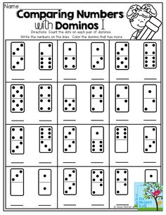 Comparing Numbers! Count the dots on the domino, write the number, color the domino that has more!  TONS of GREAT Back to School Printables!