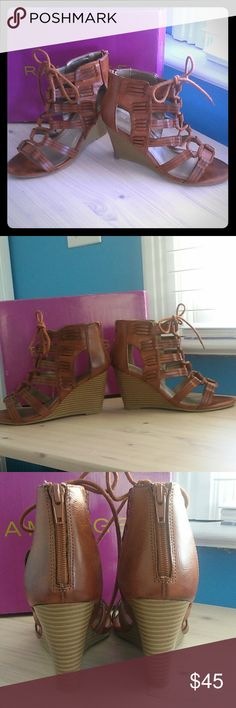 Rampage heel sandels. Like new. Sz.7M These heels are gorgeous. I love the color and style but i just don't wear heels much anymore. These are like new. Only wore these once indoors for a party. In mint condition no defects.  I still have the box too. Offers welcome. Rampage Shoes Heels
