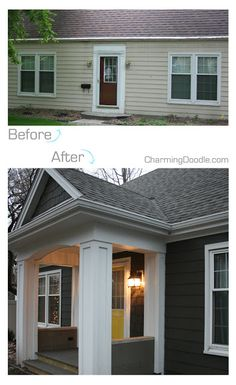 67 ideas house exterior before and after porch addition front doors Exterior Renovation Before And After, Renovation Work, Architecture Renovation, Small House Renovation, Home Beach, Front Porch Addition, Exterior Makeover, Up House, House Wall