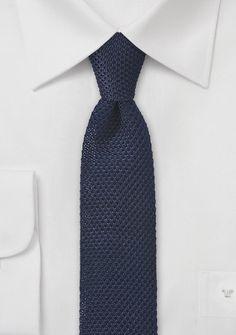 Skinny Knitted Tie in Dark Navy | $15 on Cheap-Neckties
