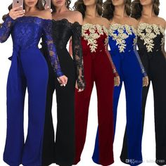 2a16efe938 2019 Women Sexy Long Sleeve Rompers Autumn Skinny Off Shoulder Casual  Clothing Lace Wide Leg Jumpsuit