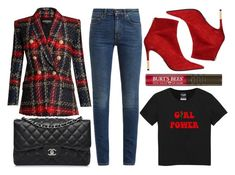 """street style"" by sisaez ❤ liked on Polyvore featuring Balmain, Chanel and Yves Saint Laurent"