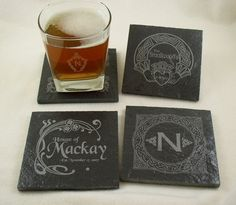 Personalized Slate Drink Coasters - Set of 4 Engraved with your Monogram or Wedding Date, etc. on Etsy, $20.00