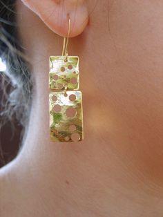 Gold earrings dangled earrings design in gold by Peshka by peshka