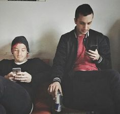 it's the day before tyler's wedding and all through the home, two brahhdies were chilling with red bull and their phones