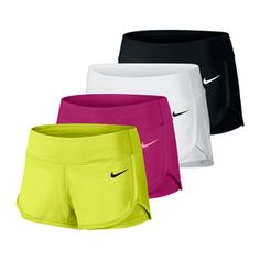 Nike Women's Ace Court #Tennis #Short -- Dri-FIT fabric absorbs sweat. Get it in simple or bold and bright color -- great for practice,competition, or jogging! Order now >> http://www.tennisexpress.com/NIKE-Womens-Ace-Court-Tennis-Short-42821 #TennisExpressNIKE