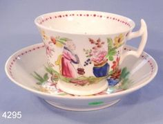 Antique Hand Painted Chinese Pattern Vintage Tea Cup and Saucer