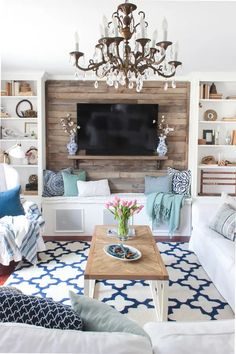 How to build a pallet accent wall with TV mounted on top. Link to tutorial show … How to build a pallet accent wall with TV mounted on top. Link to tutorial show show to hide all wires plus safety tips on using the correct type of pallet. Coastal Living Rooms, Living Room Tv, Coastal Cottage, Coastal Homes, Pallet Accent Wall, Accent Walls, Up House, Cottage House, House Floor