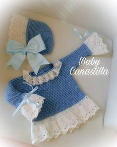 Modelo NEREA     Tejido a mano en cualquier color ❤  Sólo primeras puestas Crochet Baby Sandals, Baby Girl Crochet, Baby Hat Knitting Pattern, Knitting Patterns Free, Knitting Dolls Clothes, Doll Clothes, Baby Girl Patterns, Baby Pullover, Fabric Yarn