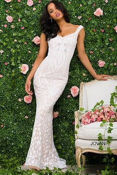 White and Nude Embellished Fitted Prom Dress 47963