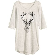Nightshirt with Printed Design $17.99 ($18) ❤ liked on Polyvore featuring tops and h&m