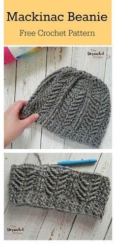 "diy_crafts- Mackinac Beanie Free Crochet Pattern freecrochetpatterns beanie hat ""This Mackinac Beanie Free Crochet Pattern is perfect for tho Beanie Pattern Free, Crochet Beanie Pattern, Crochet Mittens, Mittens Pattern, Crocheted Hats, Knit Hats, Crochet Men, Crochet Crafts, Crochet Projects"