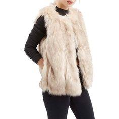 Topshop'Leah' Faux Fur Vest ($125) ❤ liked on Polyvore featuring outerwear, vests, cream, pink faux fur vest, cream faux fur vest, vest waistcoat, topshop and pocket vest