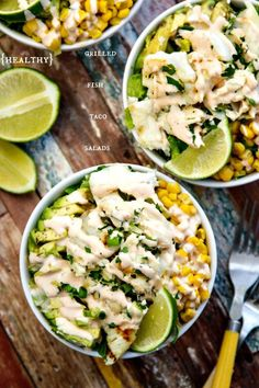 Healthy Fish Taco Salad with Creamy Chipotle Dressing via The Wicked Noodle Fish Recipes, Seafood Recipes, Mexican Food Recipes, Salad Recipes, Cooking Recipes, Healthy Recipes, Tilapia Recipes, Cooking Tips, Healthy Salads