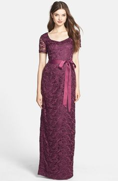 Adrianna Papell Bow Belt Lace Column Gown available at #Nordstrom