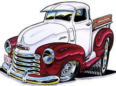 Vintage Trucks, Old Trucks, Chevy Trucks, Classic Trucks, Classic Cars, Car Art, Cartoon Car Drawing, Cars Cartoon, Cool Car Drawings