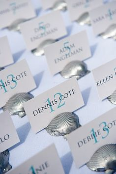 name cards, shells, escort cards, table cards. copyright Joe Wallace Photography