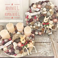 Christmas Advent Wreath, Winter Christmas, Christmas Decorations, Ornament Wreath, Ornaments, Wreaths, Xmas, Door Wreaths, Christmas Decor