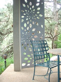 "Lemon Drop 1/4"" Steel powder coated Parasoleil panel as garden screen"