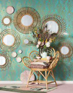 Décor Boho, Boho Diy, Mirror Gallery Wall, Gallery Walls, Mirror Makeover, Wicker Mirror, Boho Home, Baskets On Wall, Beautiful Interiors