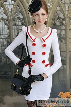 GrabMyLook  Double-breasted Vintage Retro 70s Long Sleeves Fair Lady Dress Skirt