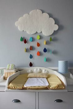 How sweet is this cloud mobile? Even I could make this! Perhaps also add some cloud cushions from ferm Living. See our website for more details. www.smallfolkrun.com