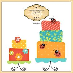 CLIP ART - Cakes on stands, commercial and personal use 3