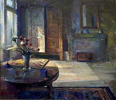 Kamer met schaakbord | schilderij van een interieur in olieverf van Simeon Nijenhuis | Exclusieve kunst online te koop in de webshop van Galerie Wildevuur