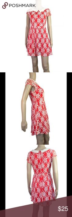 Lace appliqué Peter Pan collar dress Super mod/retro red and white apace appliqué dress. White Peter Pan color. Red lining with white lace appliqué overtop. Size medium - will best fit sizes s-m best. Not see through in any sense. No signs of wear. Mannequin is 5'8 with measurements of bust - 32, waist - 24, hips - 32 Dresses