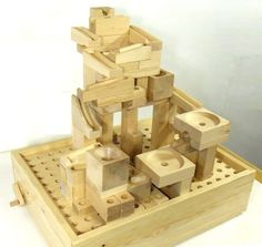 Plans for the most amazing marble run ever. Got to get my hands on some woodworking tools! Handmade Wooden, Handmade Crafts, Diy Crafts, Woodworking Toys, Woodworking Projects, Cnc, Rolling Ball Sculpture, Marble Toys, Marble Maze